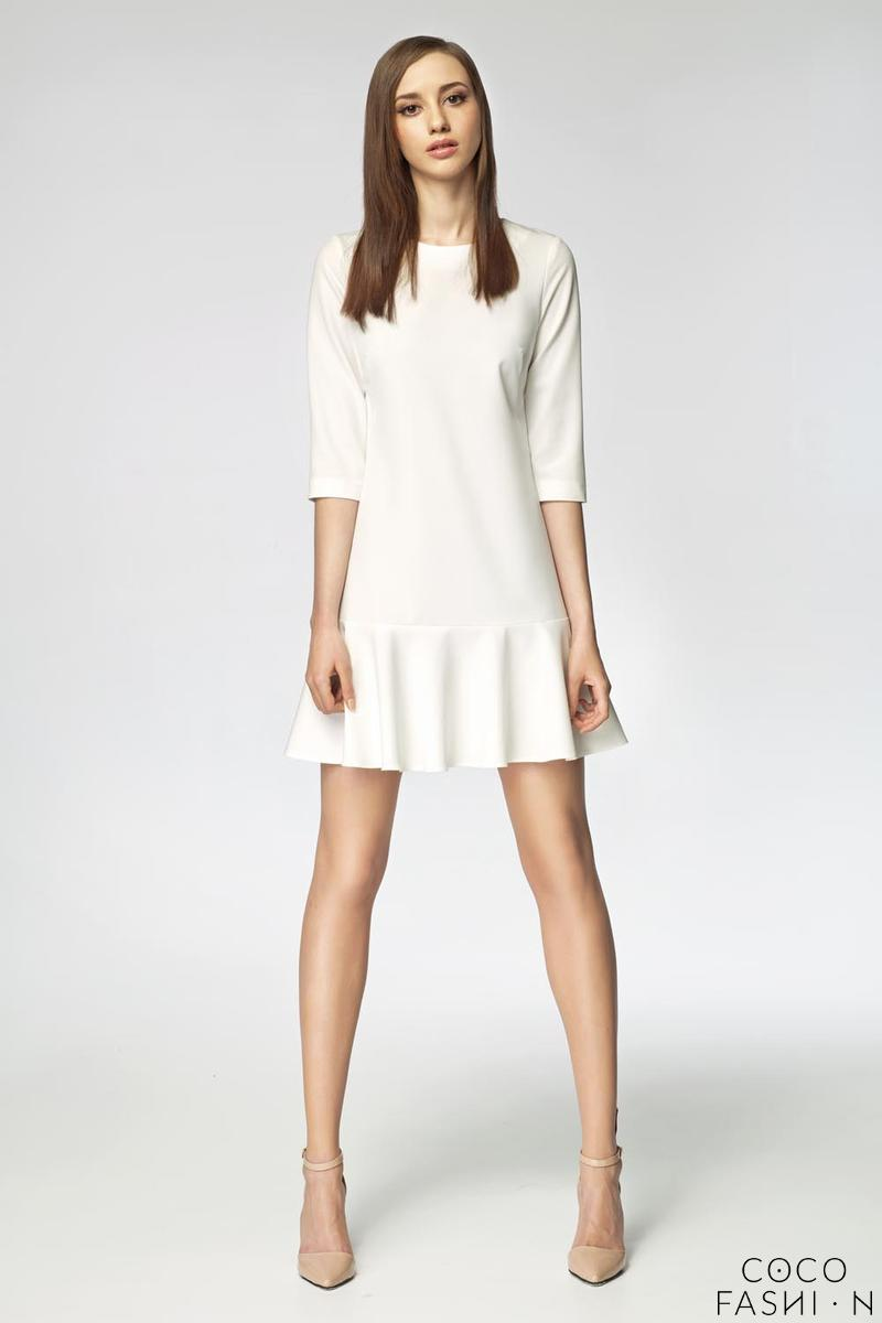 Ecru Mini Frilled Dress