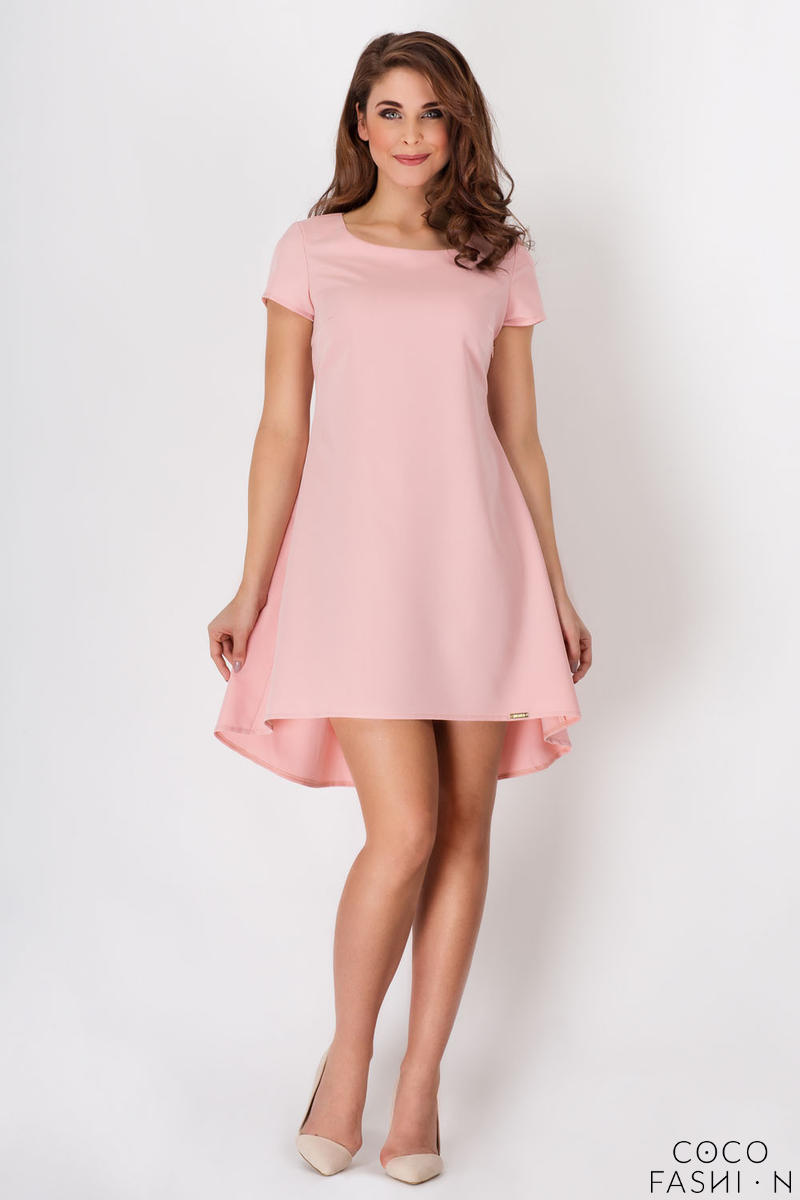 Pink Asymetrical Flared Dress