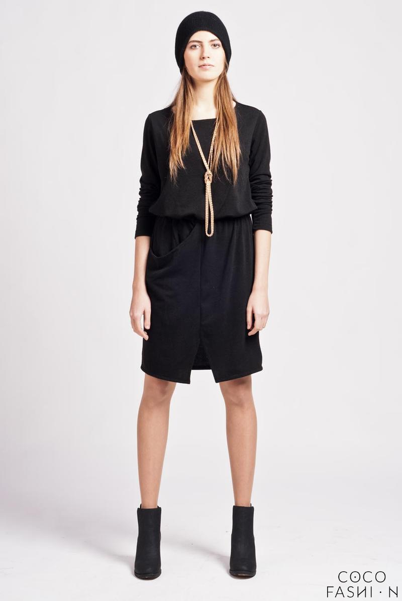 Black Street Style Mini Casual Dress with Pocket от cocofashion