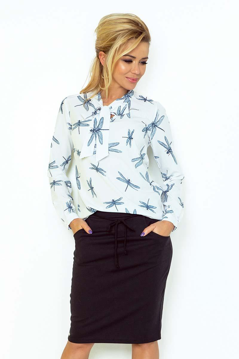White Dragonfly Pattern Shirt With Self Tie Bow