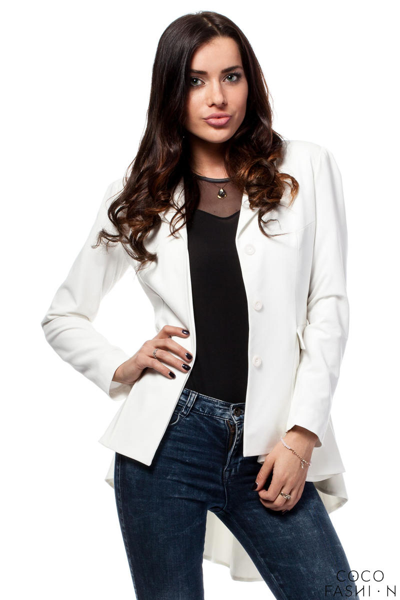 Off White Seam Blazer with Cascading Back Hemline