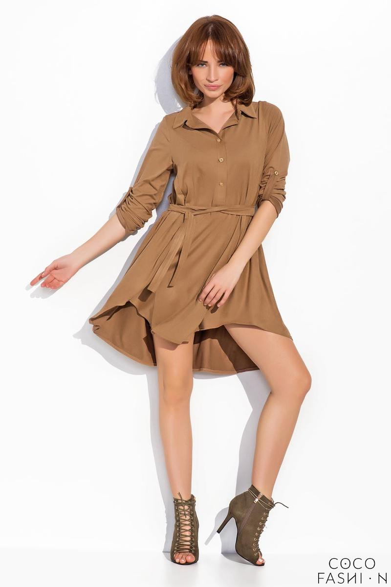 Brown Rolled-up Sleeves Shirts Style Dress