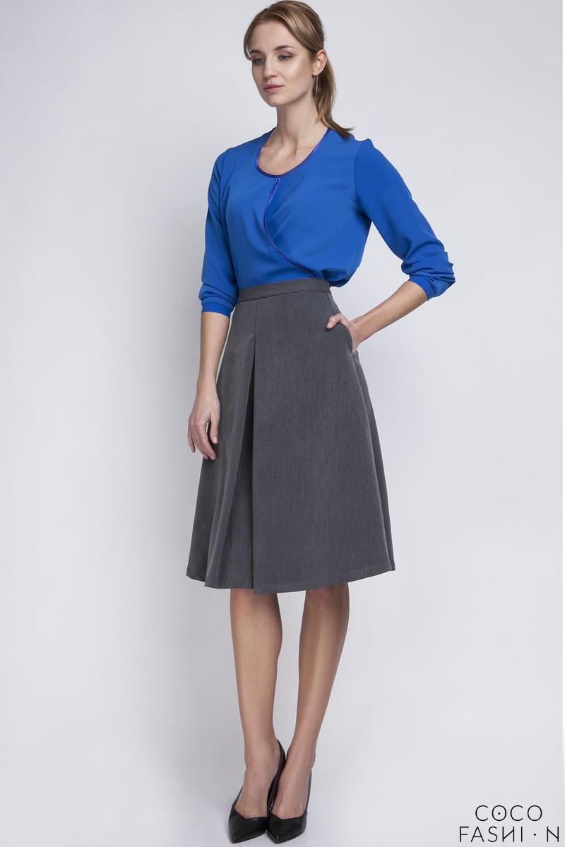 Dark Grey Retro Style Midi Lenght Skirt with Double Fold