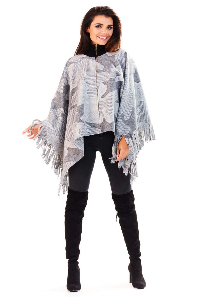 Grey Aztec Patterns Poncho Sweater