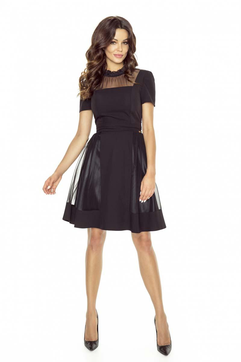 black-evening-flared-dress-with-netz-neckline