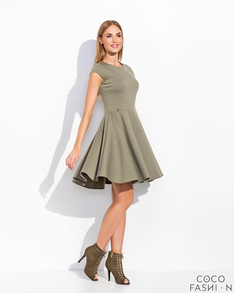 Green Flared Light Pleats Coctail Dress