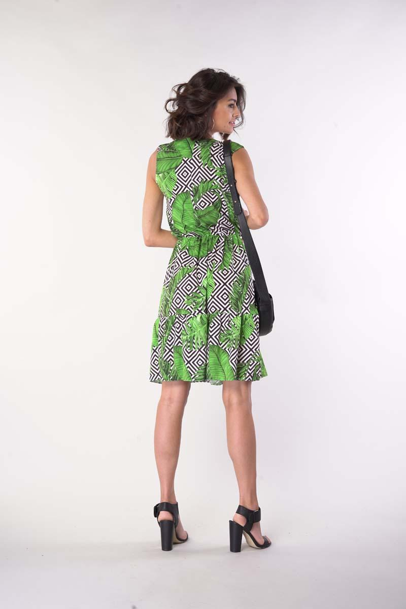 Sleeveless dress with frills - Leaves