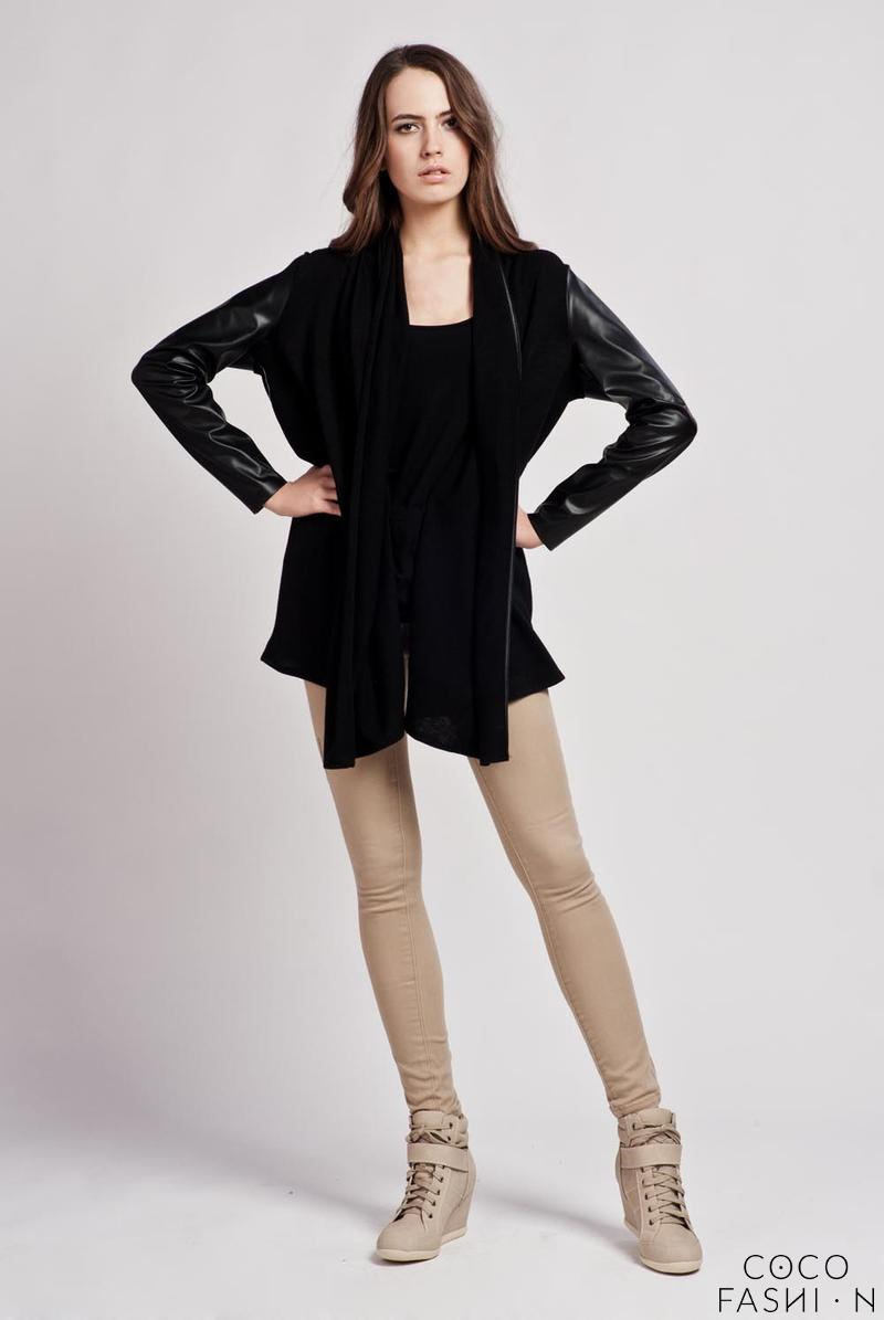 Black Stylish Zipper Closure Cardigan with Leather Sleeves