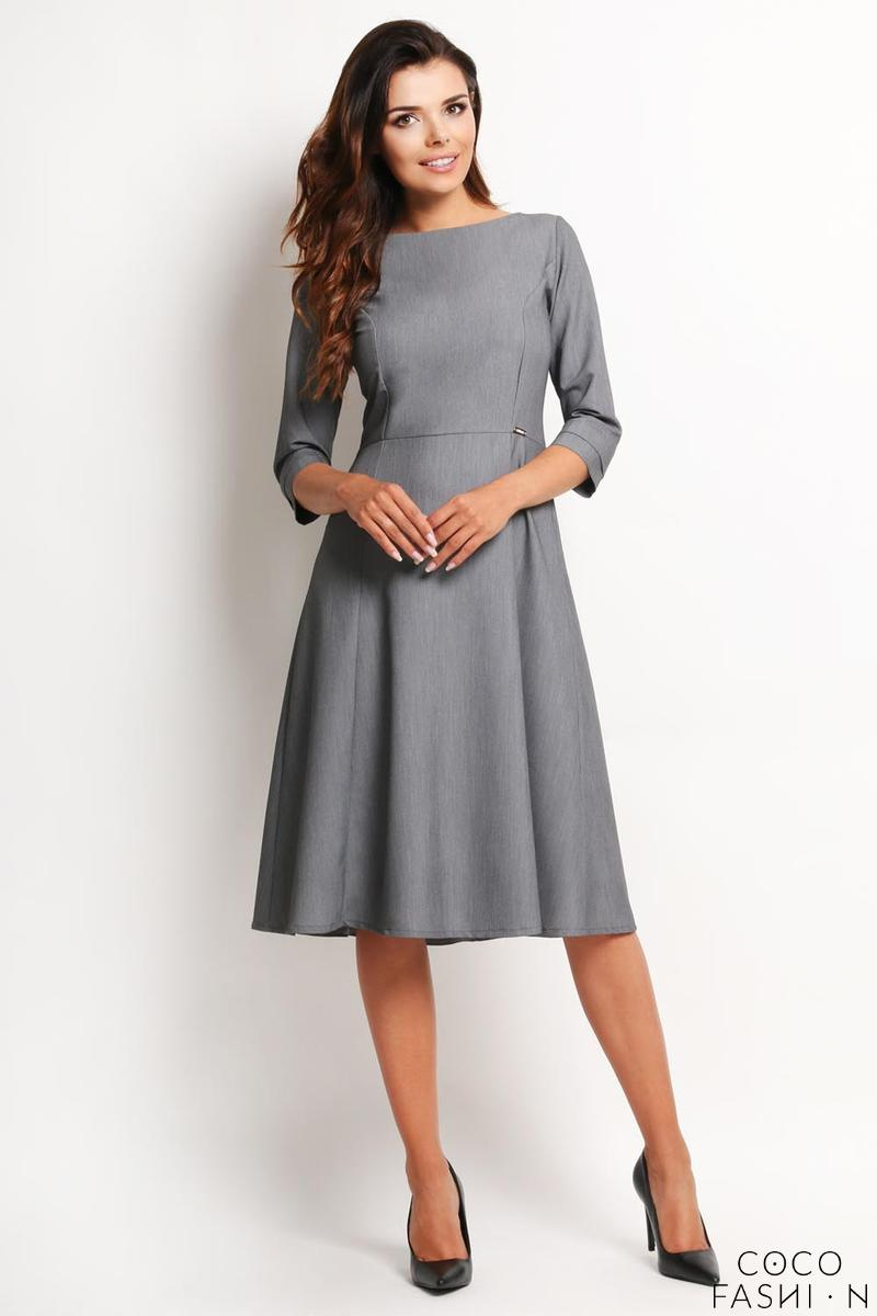 Grey Elegant Classic 3/4 Sleeves Midi Dress
