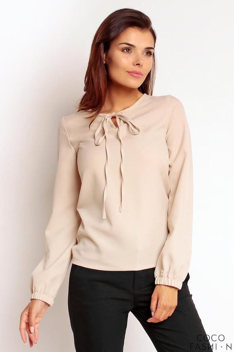 beige-elegant-office-style-blouse-with-a-bow