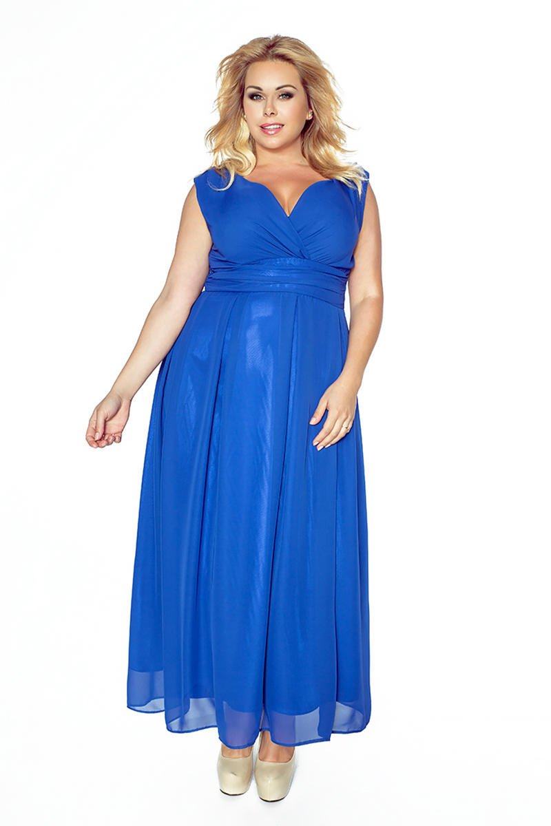 Blue V-Neckline Evening Maxi Dress PLUS SIZE
