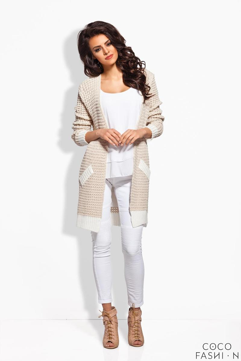 Beige Long Cardigan with Contrasting Details