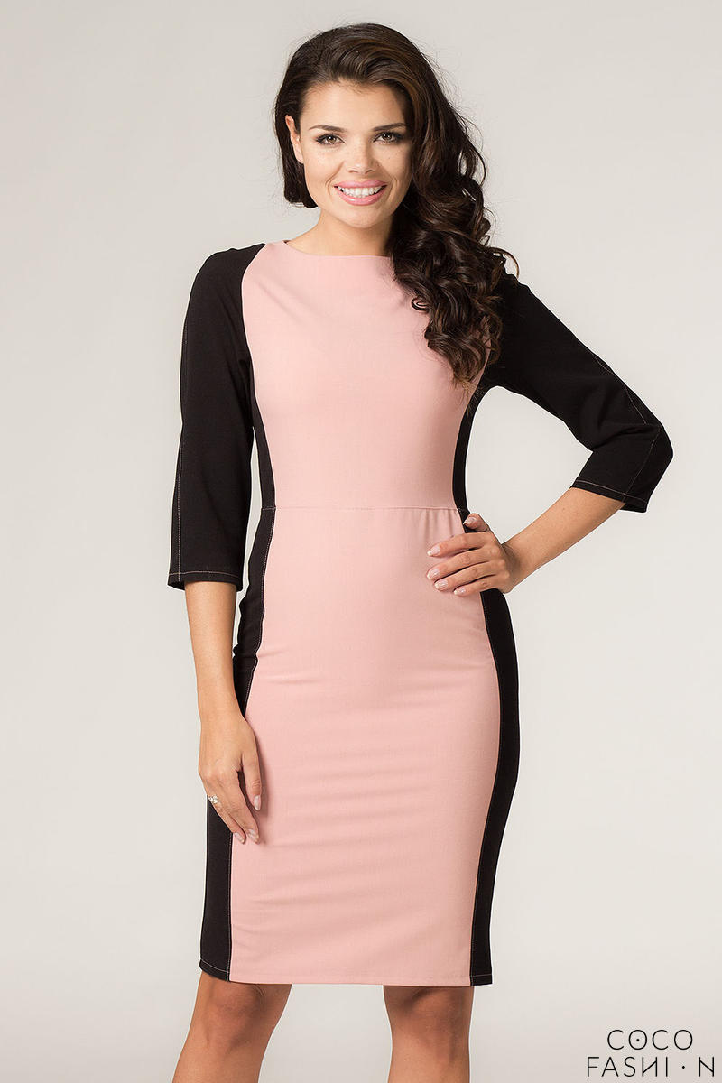 Powered Pink-Black Seam Shift Dress with Back Zip Fastening от cocofashion