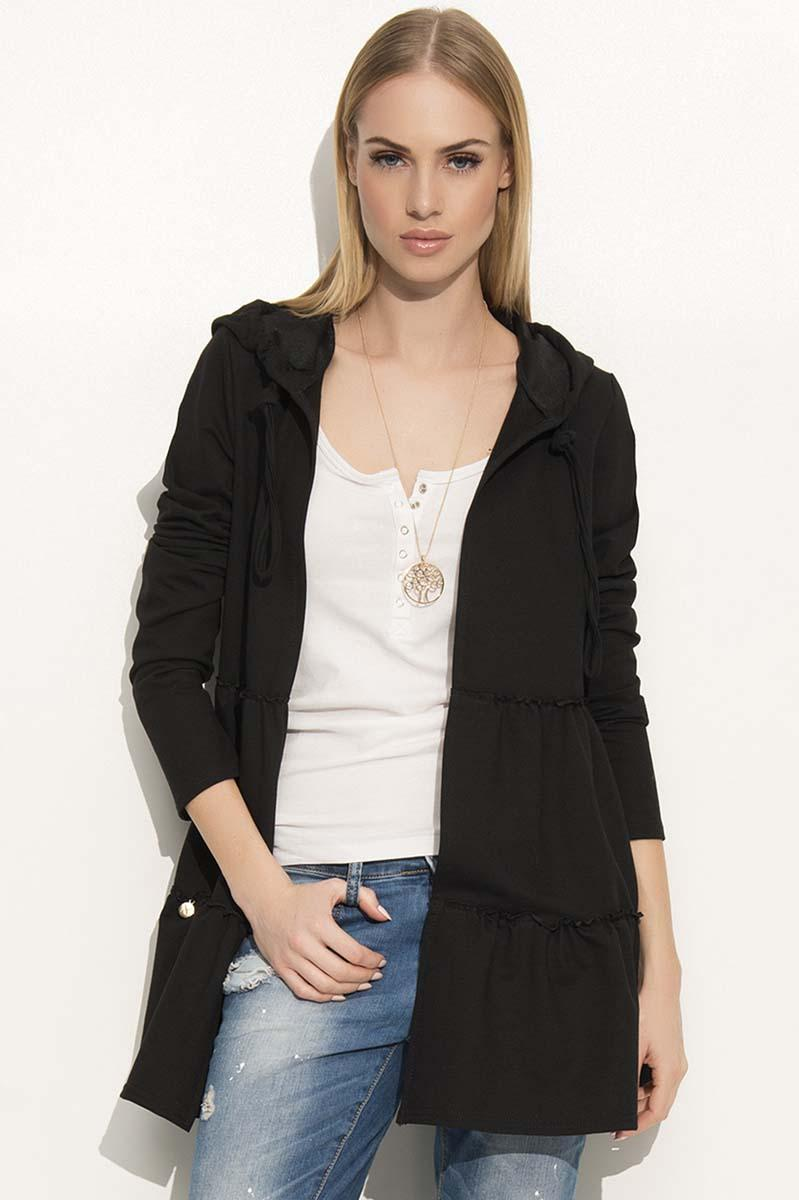 Black Comfy Jacket with Frills&Hood