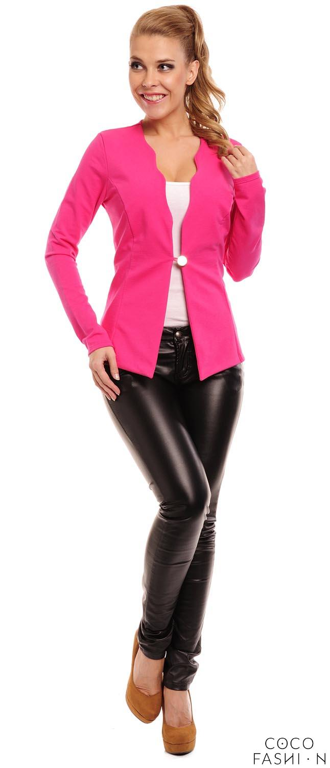 Fuchsia Slim Waist One Button Blazer