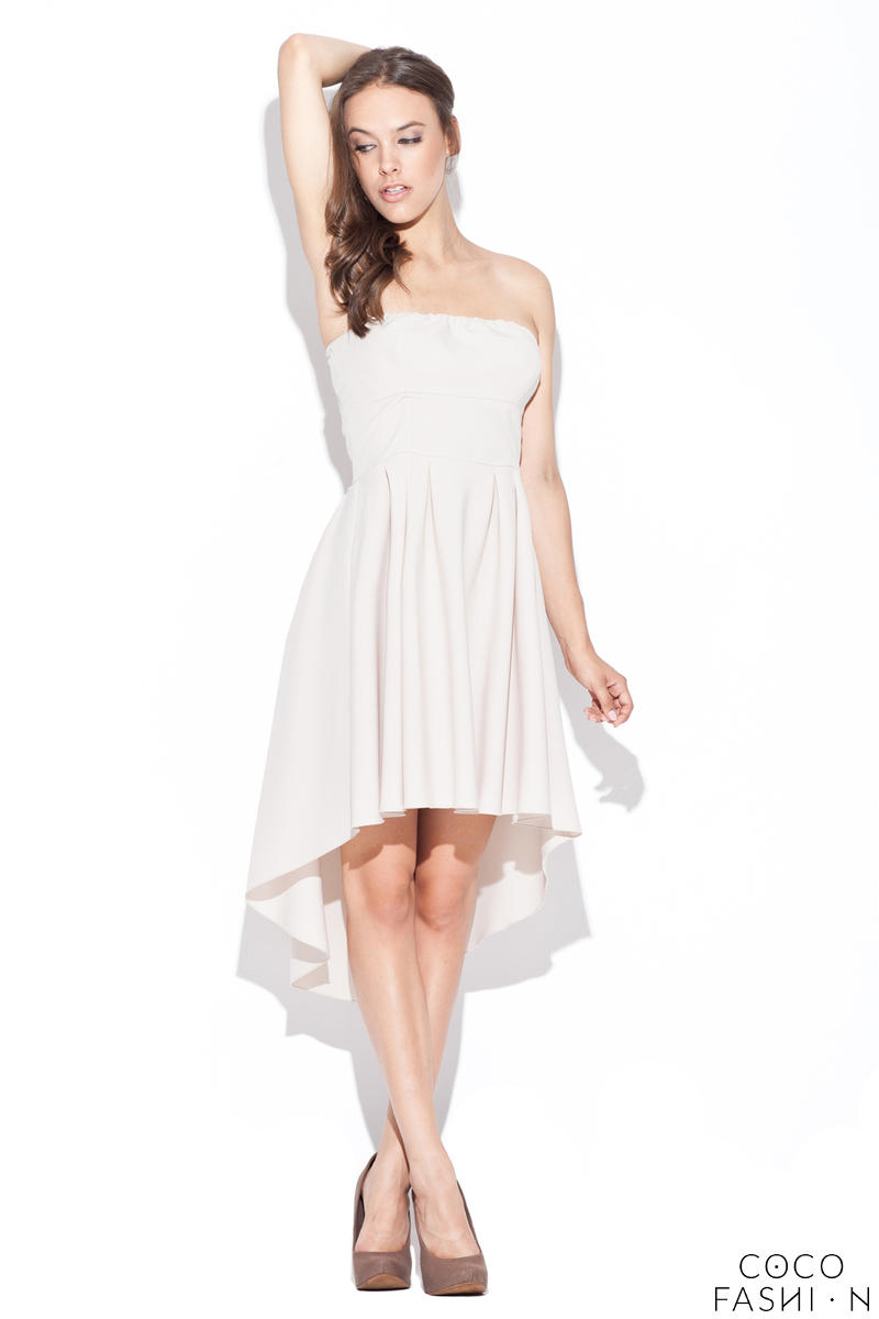 Light Beige Asymmetrical Pleated Bandeau Dress