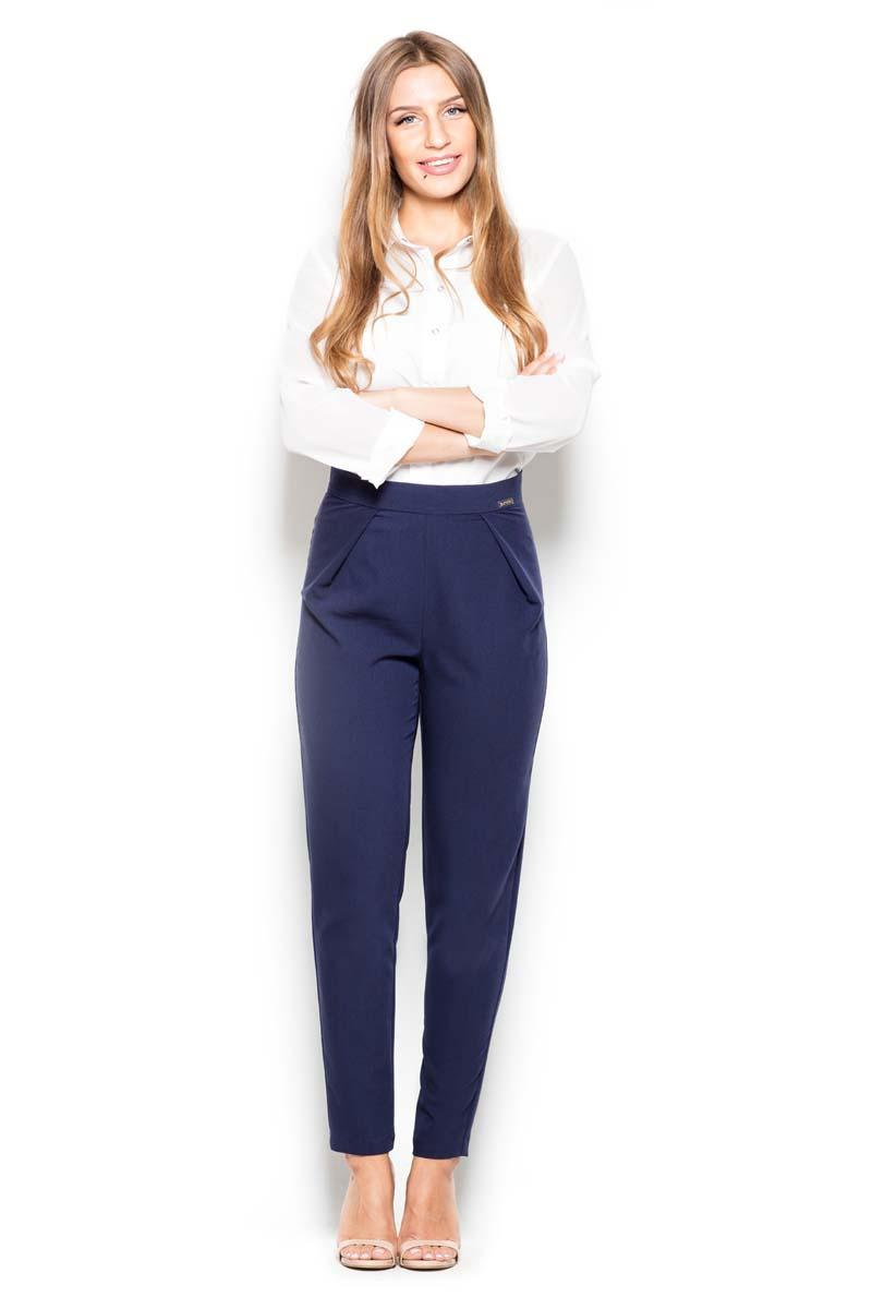 Dark Blue Tapered Legs High Rise Pants