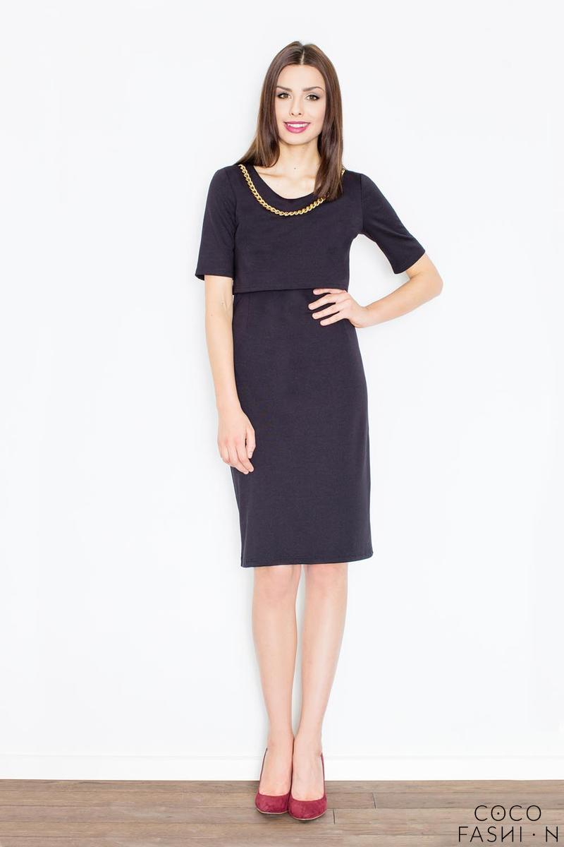 Black Two Layers Knee Length Dress with Decorative Chain