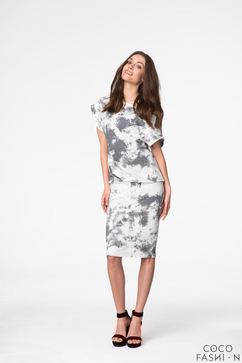 grey white casual top pencil skirt dress