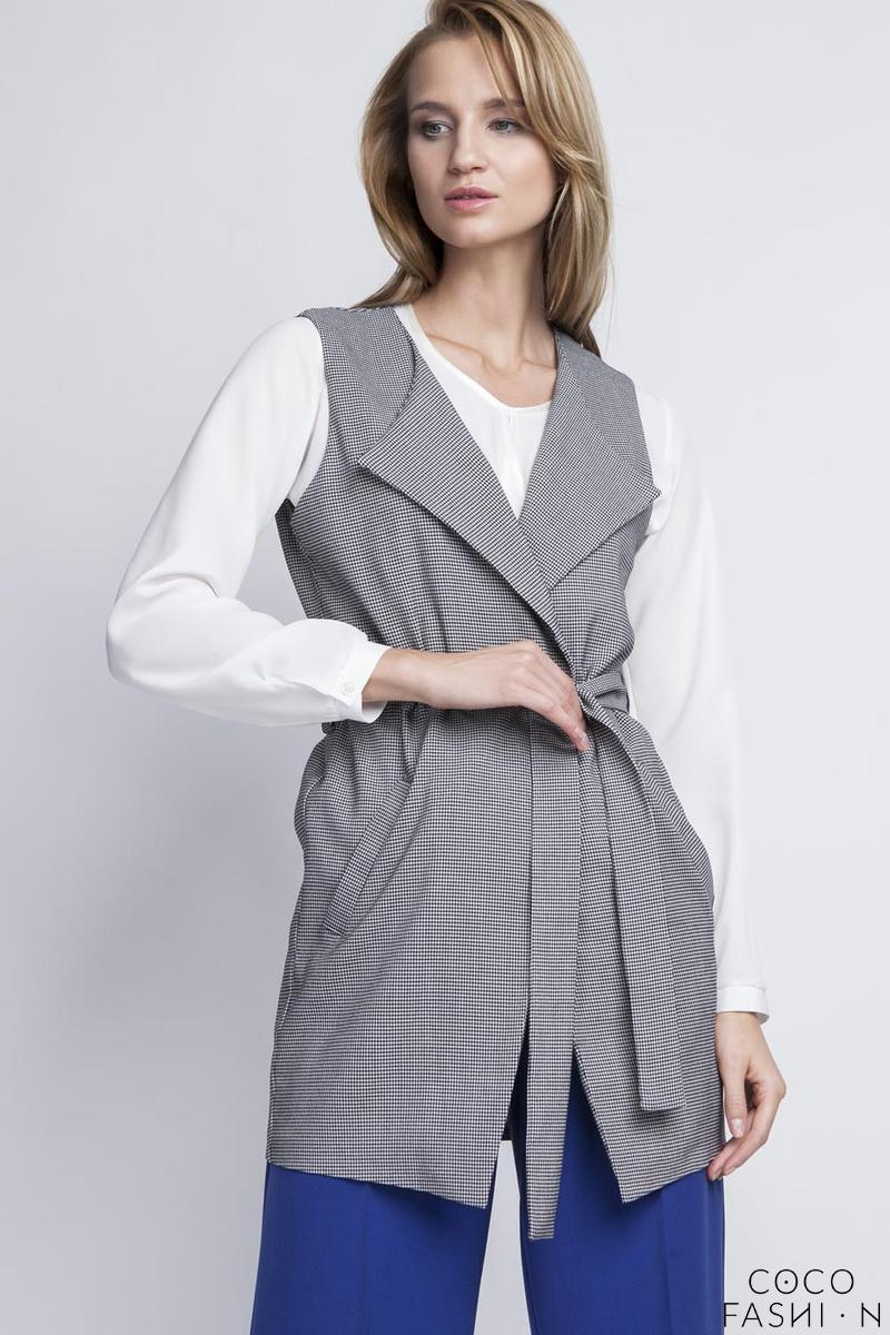 Houndstooth Stylish Ladies Vest with a Belt