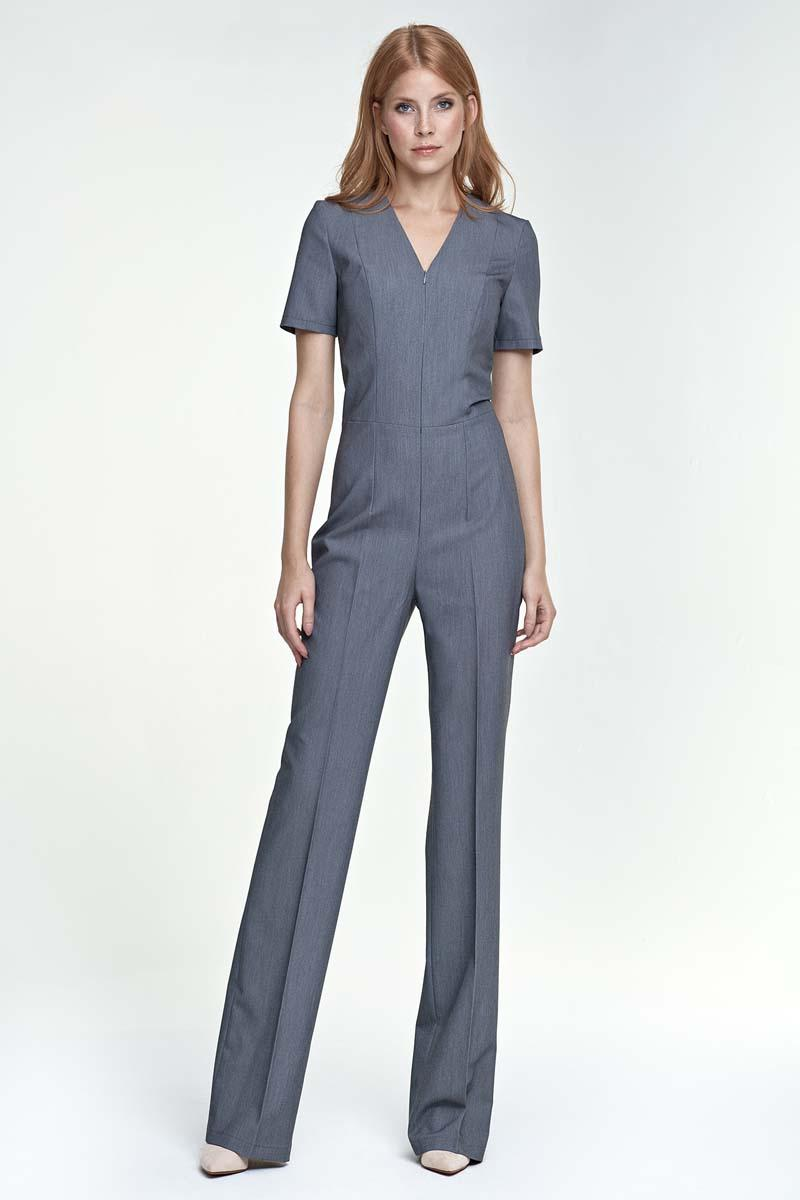 Grey Elegant Short Sleeves Jumpsuit