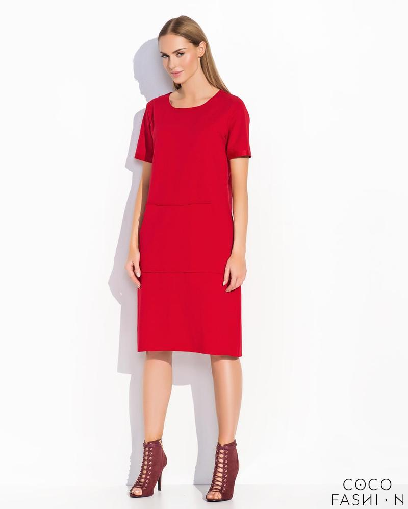 red-casual-big-kangaroo-pocket-midi-dress