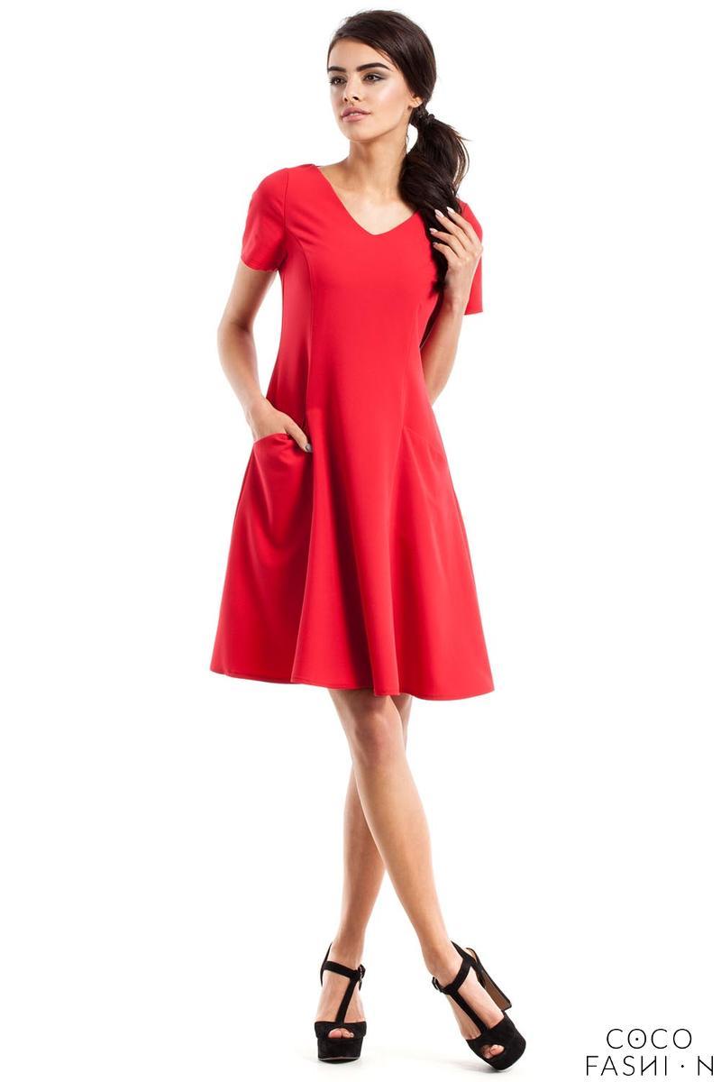 red flared short sleeves dress with front pockets. Black Bedroom Furniture Sets. Home Design Ideas