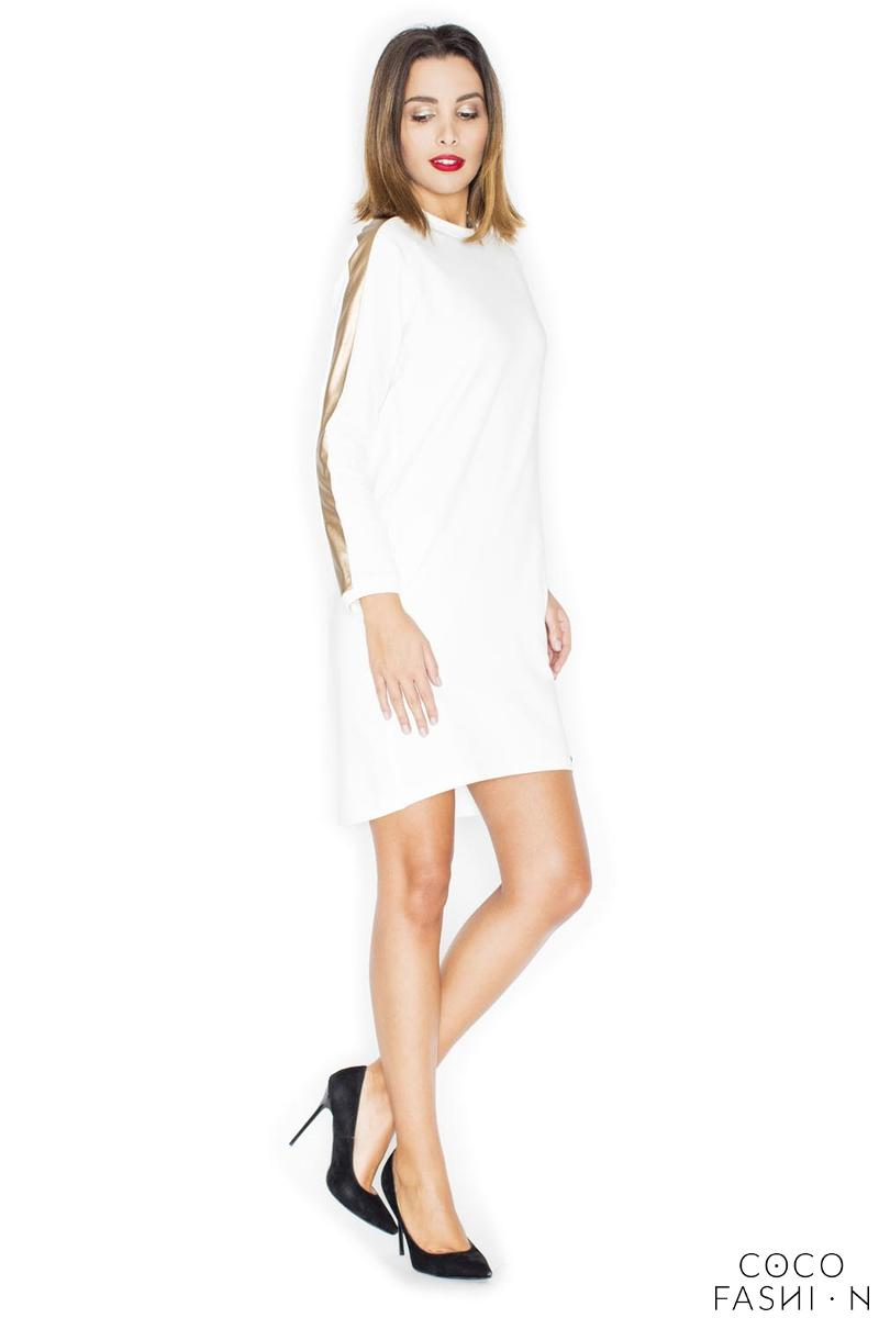 Ecru Simple Dress with Golden Stripes on The Sleeves