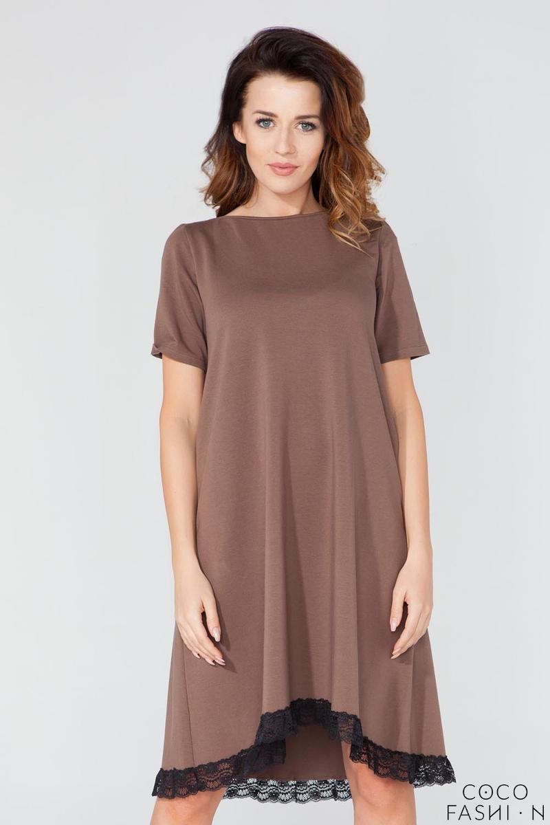 Brown Flared Short Sleeves Dress with Lace Edging
