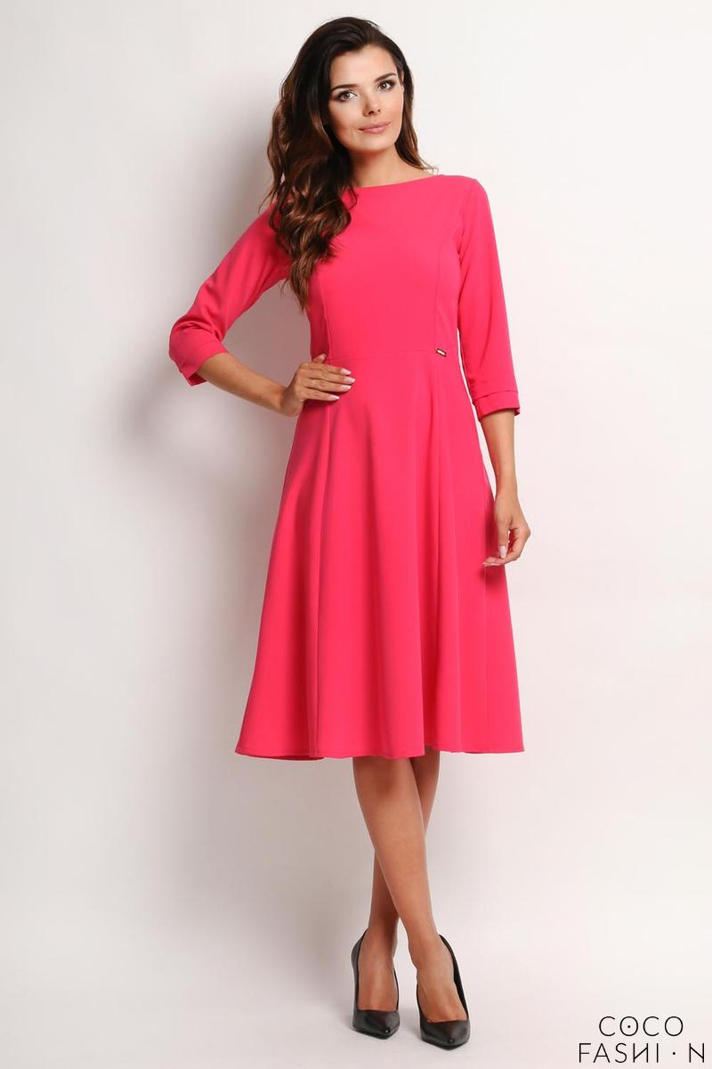 Pink Elegant Classic 34 Sleeves Midi Dress