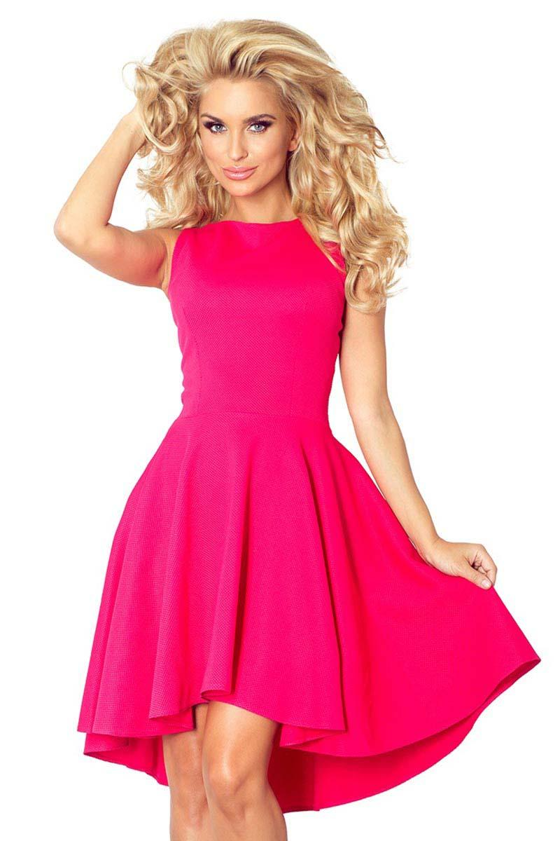 raspberry-pink-asymetrical-light-pleats-coctail-dress