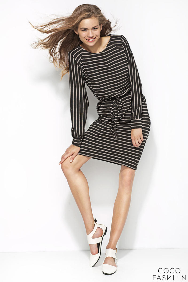 Black and Grey Striped Shirt Dress with Draw String Waist от cocofashion