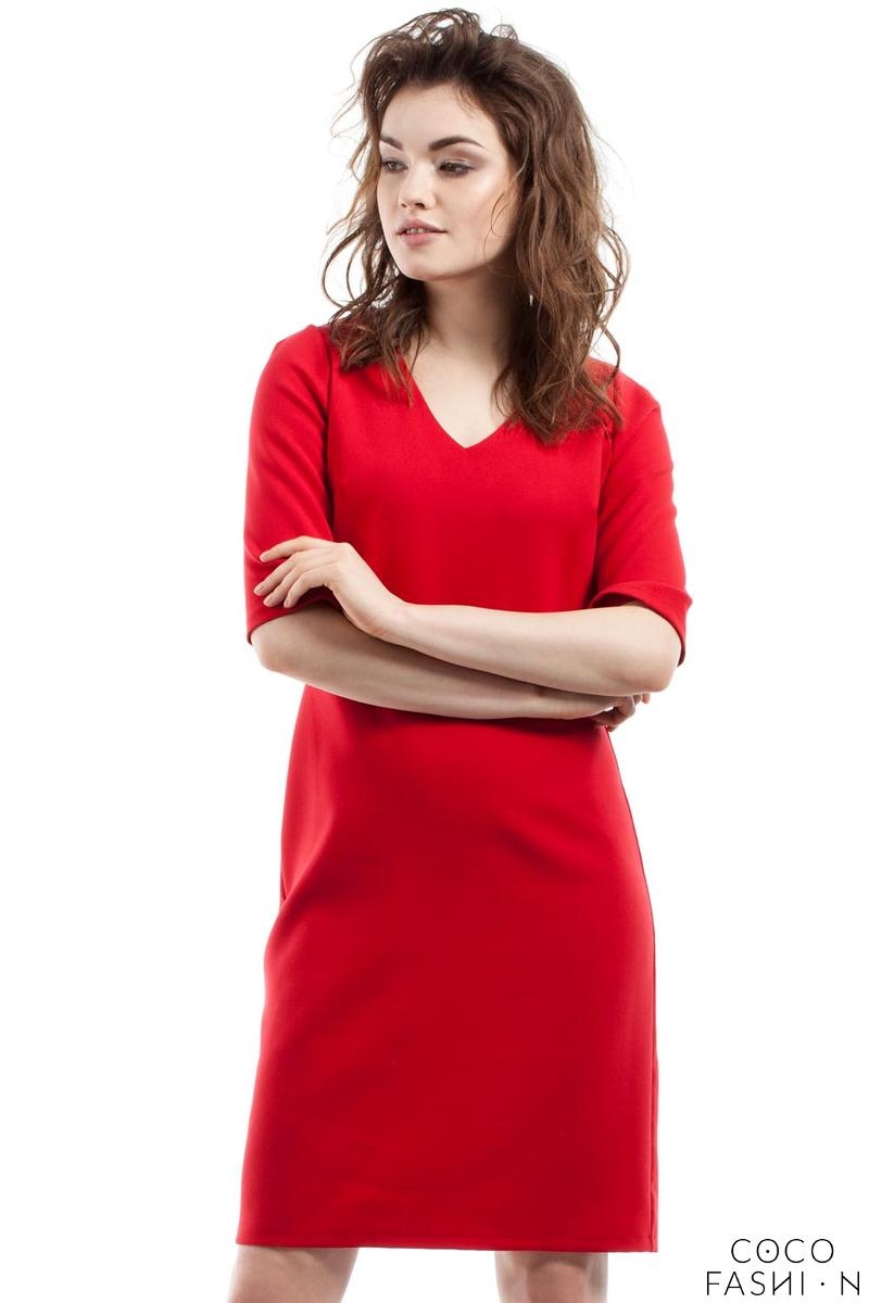 red-soft-office-style-knee-length-dress