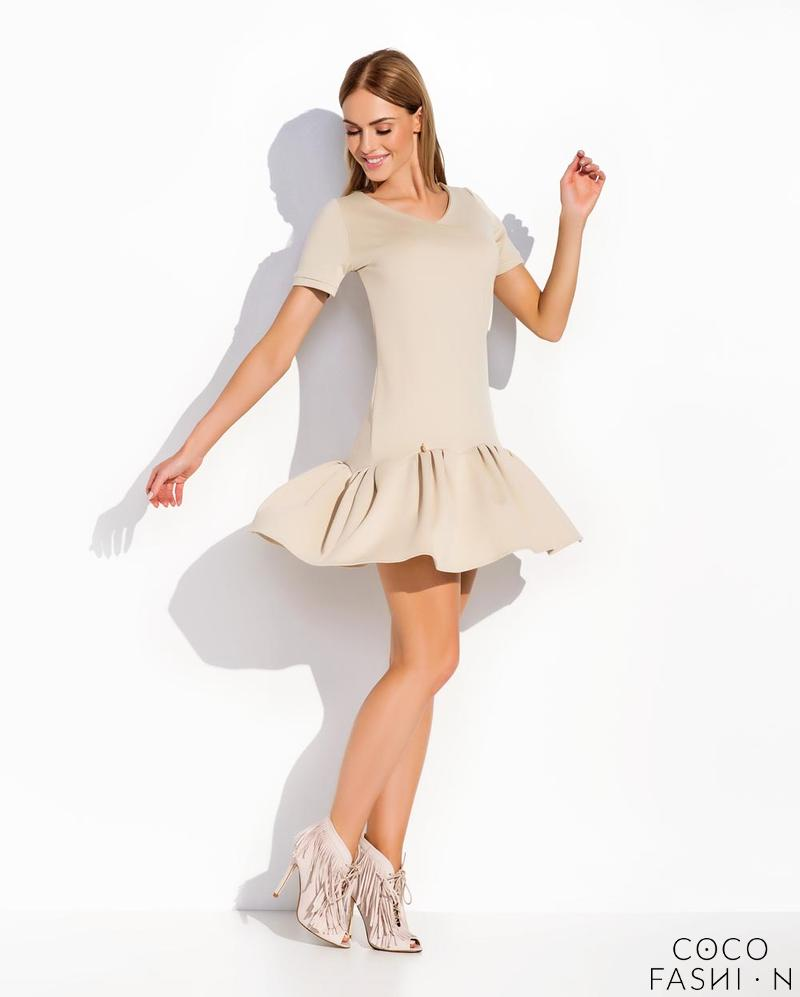Beige Casual Style Short Sleeves Dress with Frilled Bottom Part
