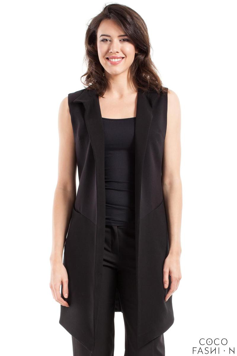 Black Long Loose Lapels Vest Blazer