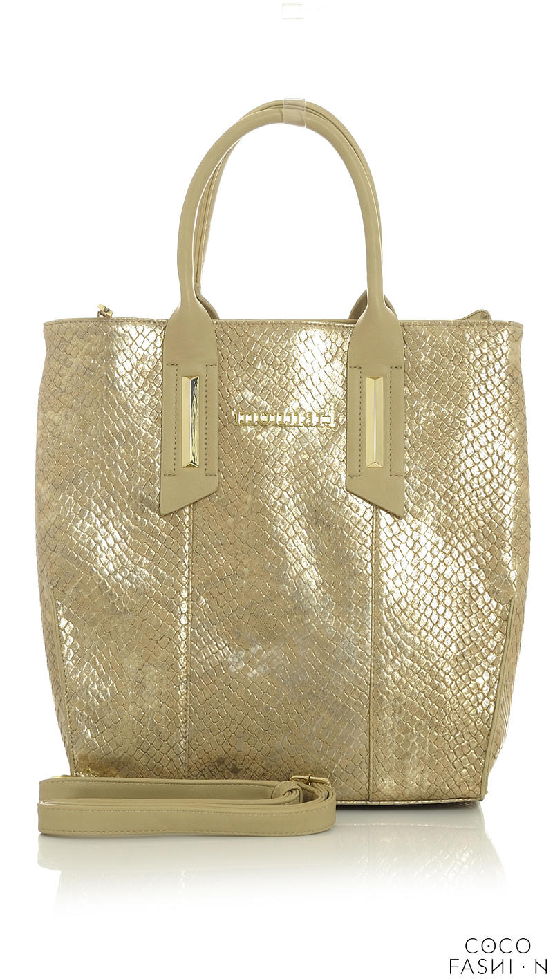 Gold Elegant Snake Skin Hand Bag