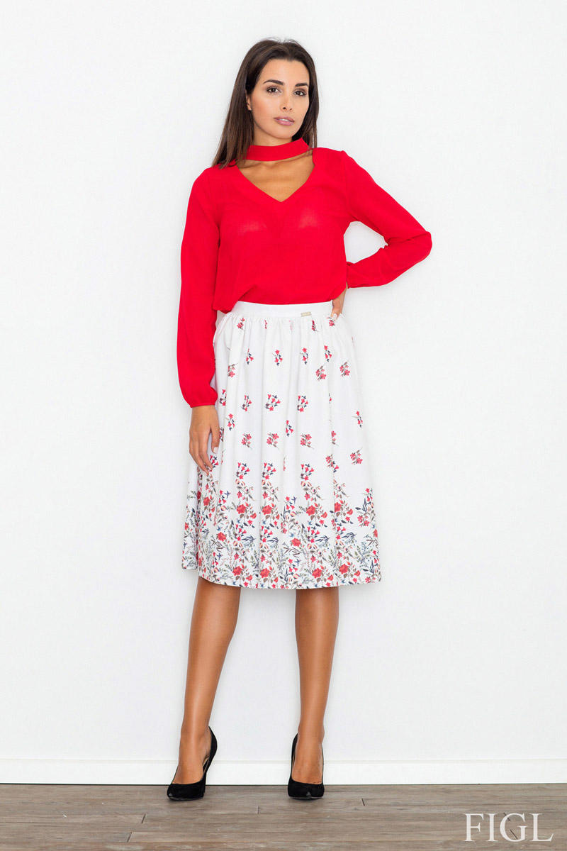Ecru High Waist Midi Floral Pattern Skirt