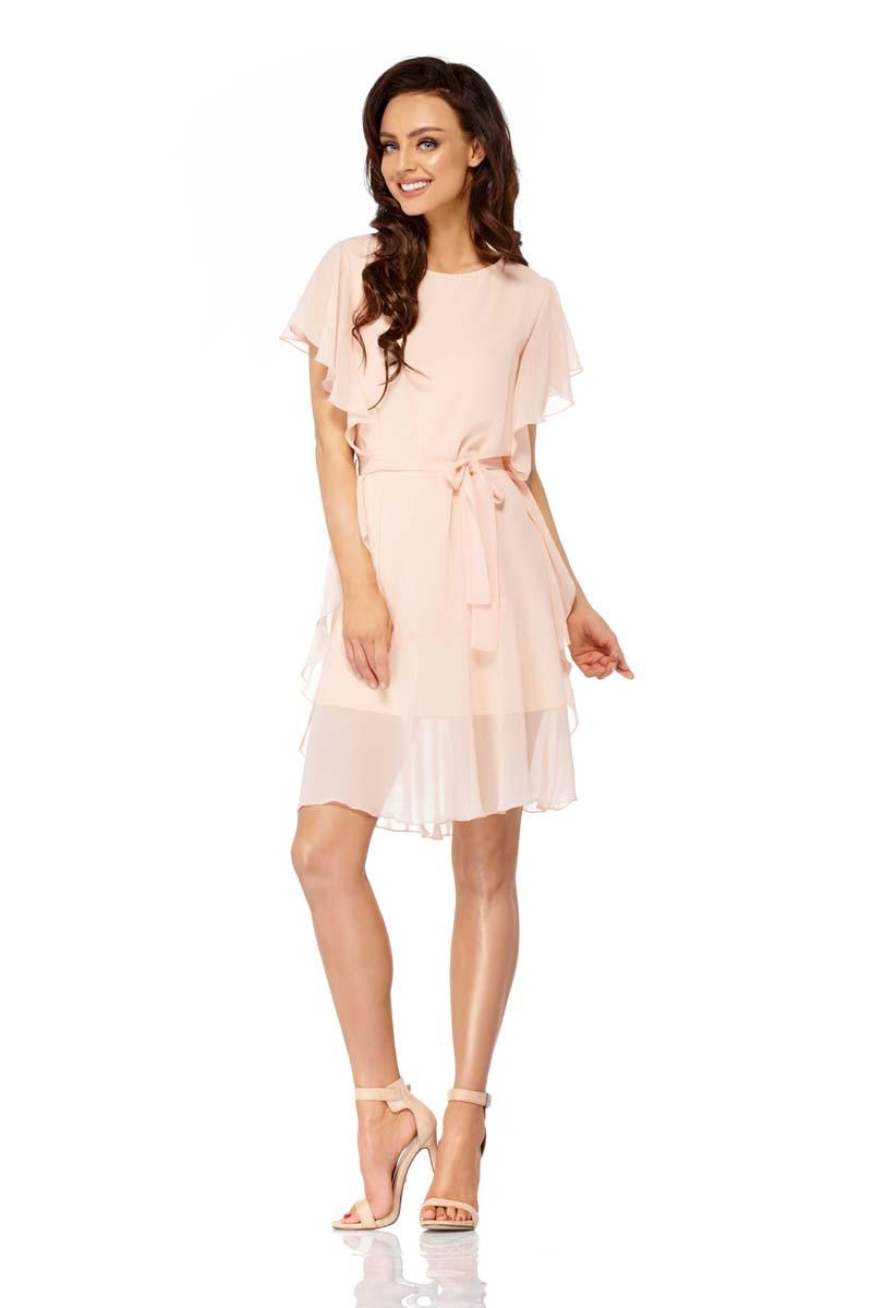 Salmon Airy Dress with Frills Tied Stripe