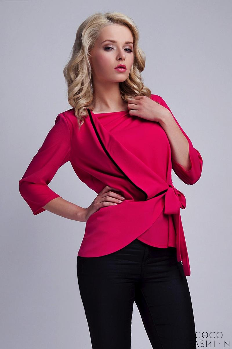 Fuchsia Elegant Wrap Front with Self Tie Bow Blouse