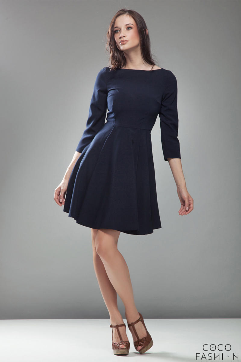 blue-high-elegance-workwear-skater-dress