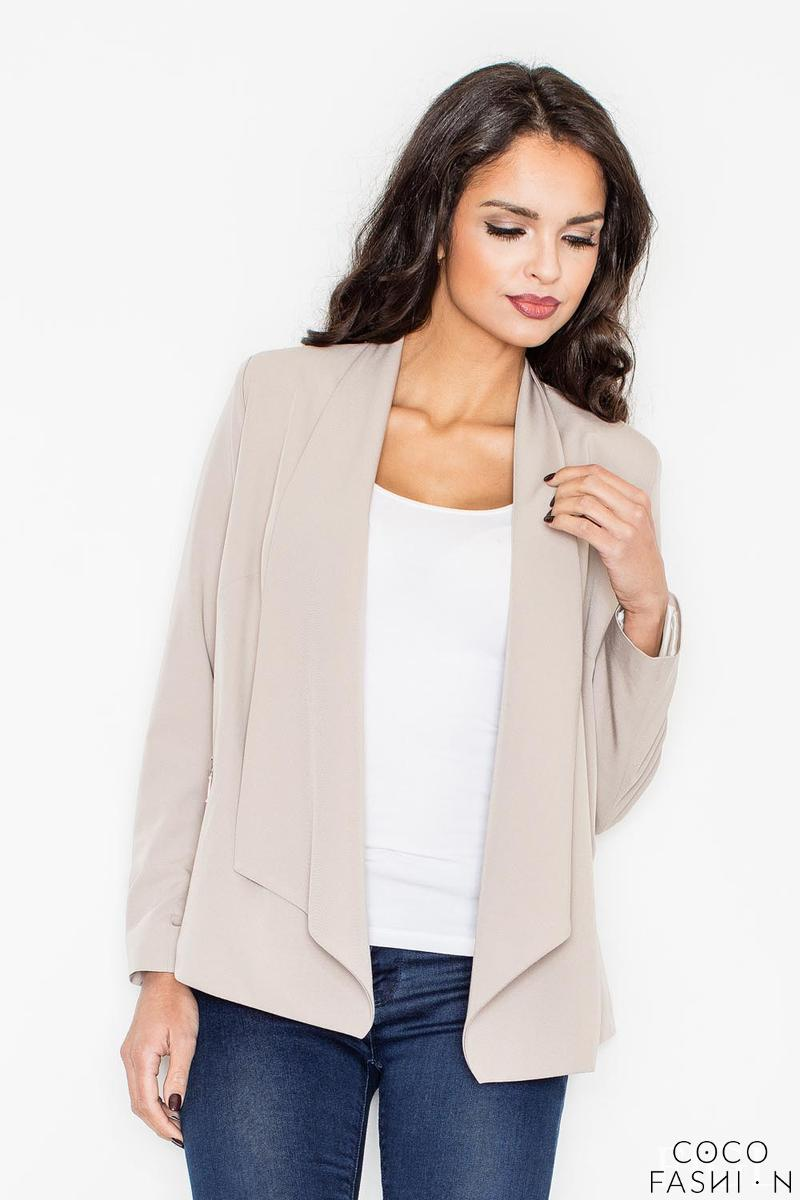Beige Office Style Loose Lapels Blazer от cocofashion