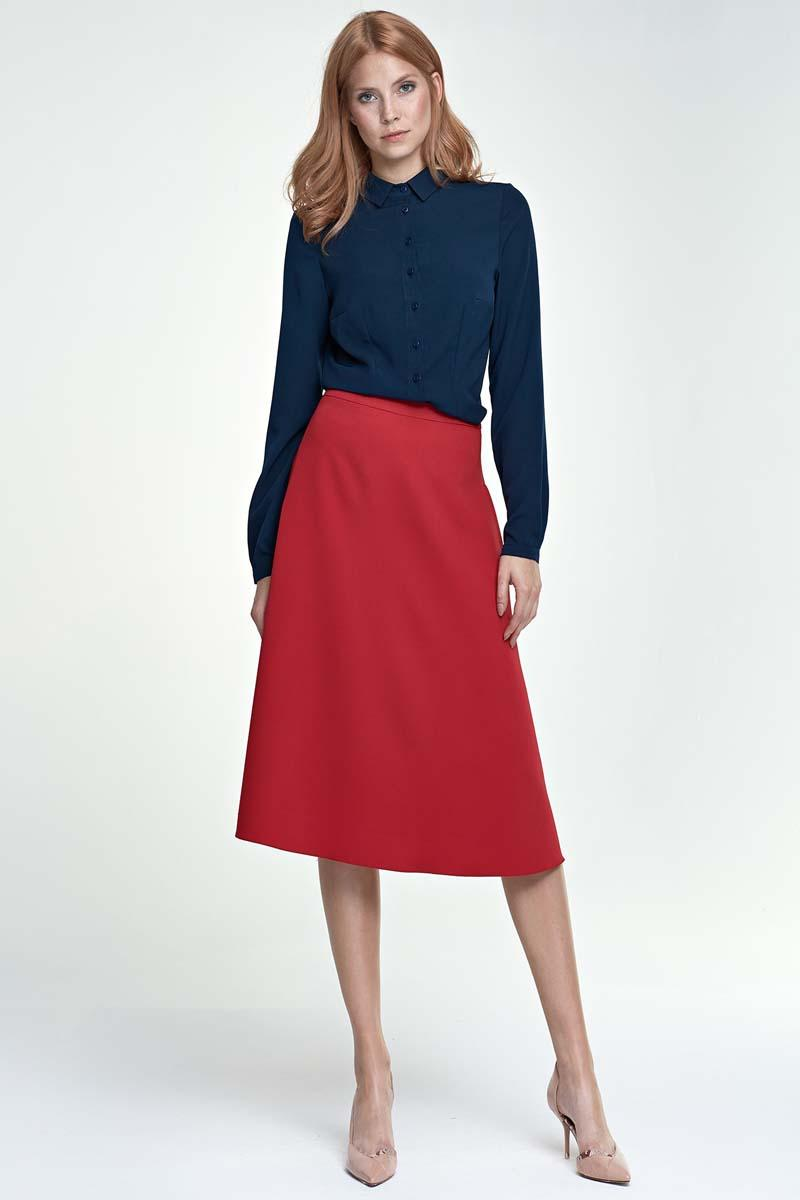 Red Flared Stylish Midi Skirt