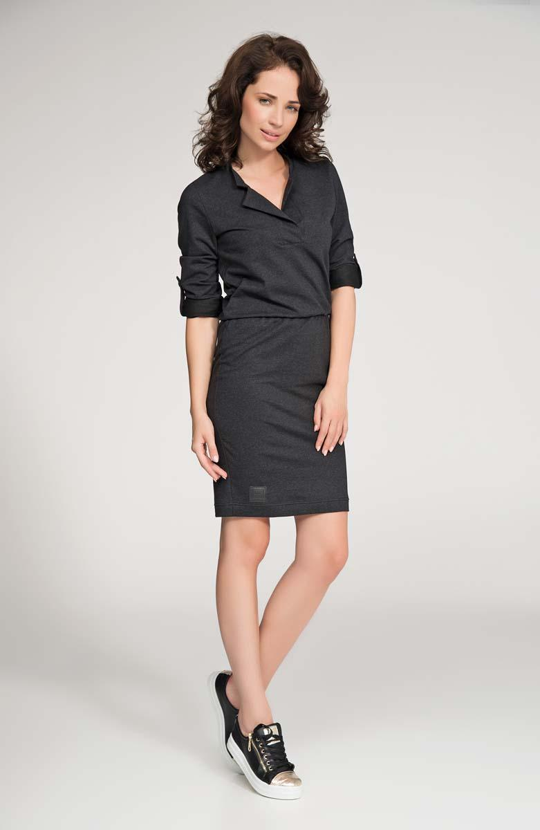 Dark Grey Polo Collar Fitted Mini Dress