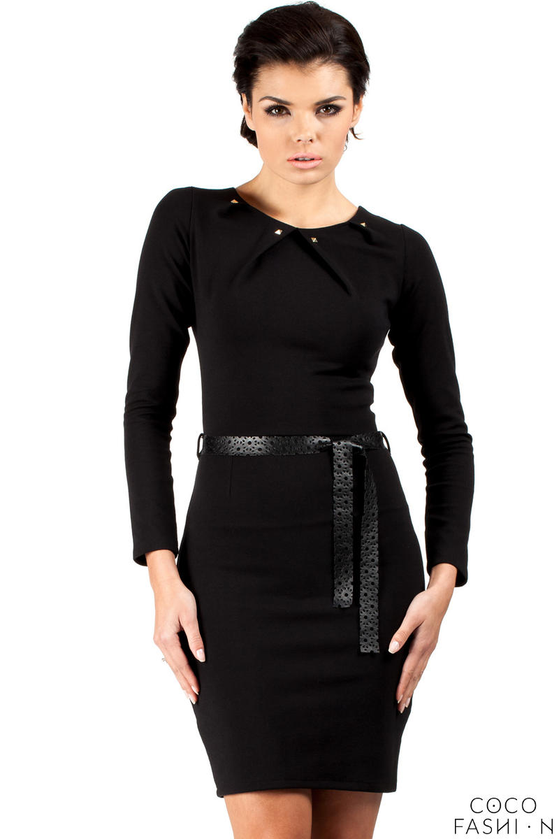 Black Pleated Neckline Shift Dress with Belt