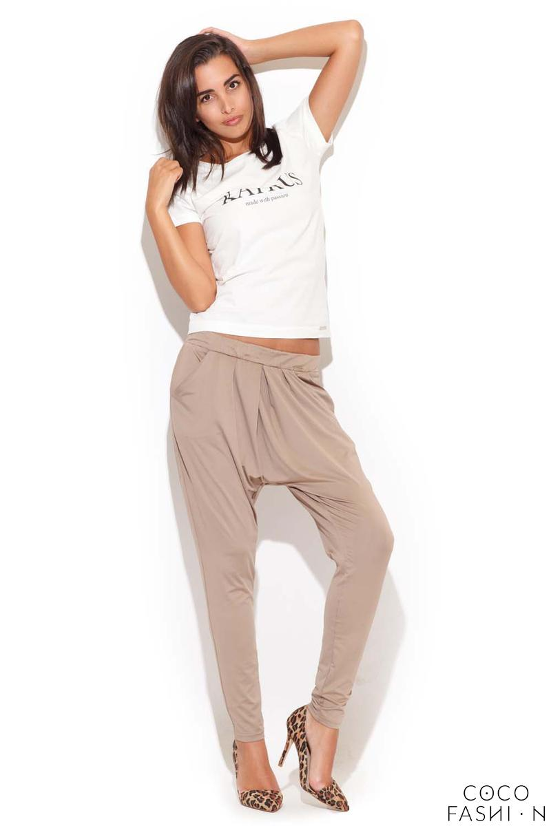 Drop Crotch Stretch Pleated Ecru Pants