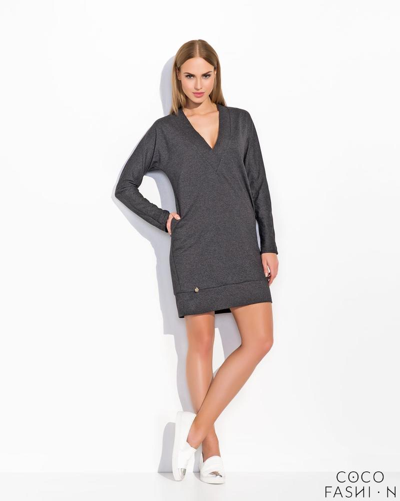 Dark Grey Simple Style V-Neckline Long Sleeves Casual Dress