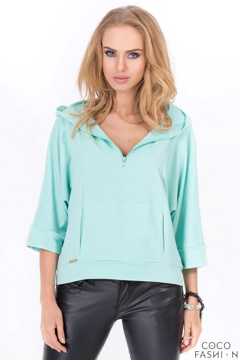 Mint Green Zipper 3/4 Sleeves Short Hoodie от cocofashion