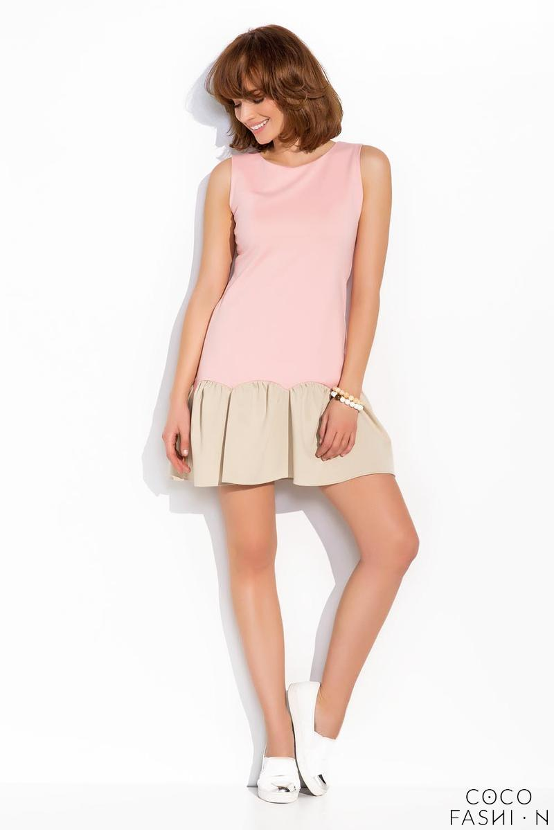 Pink Sleeveless Drop Waist Dress