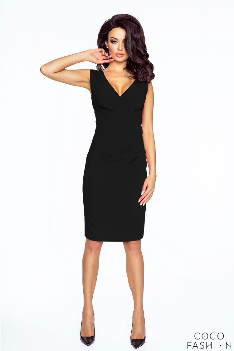 Black Elegant Wrap Neckline Evening Dress