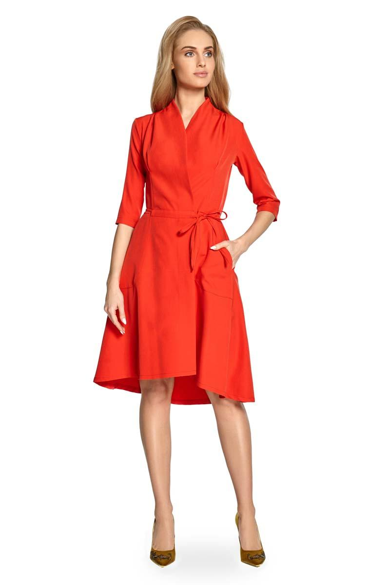 Red Midi Dress With Folded Neckline